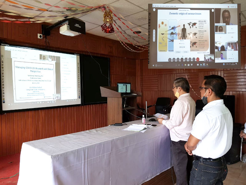 Live webinar Series II: going Viral- COVID19 pandemic organised by the Departments of Zoology and Botany, Manipur University in association with Mangolnganbi College and Moirang College on 13.06.2020. Prof. N. Mohilal Meitei, Head, Department of Zoology and Dr. Ksh.  Birla Singh, Associate Professor interacting with the speaker Dr. Kumardeep Chaudhary of New York, USA.
