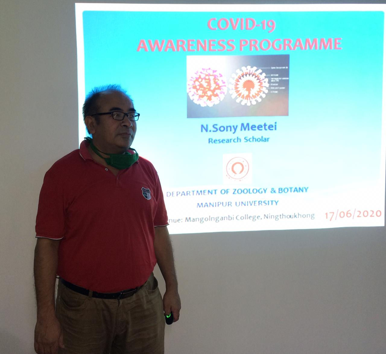 N. Sony Meetei delivered a lecture on COVID19 at Mangolnganbi College.