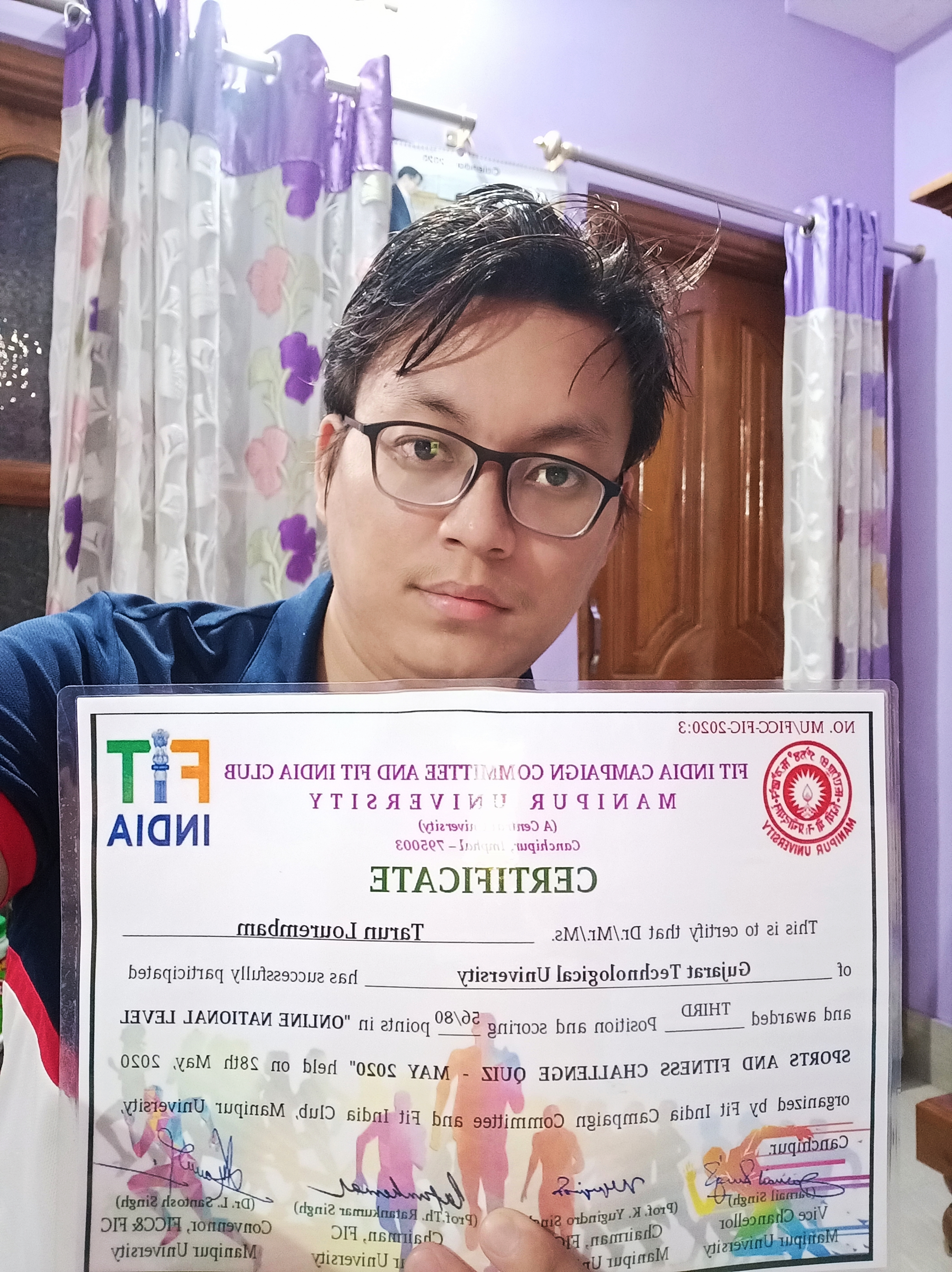 Tarun Lourembam (3rd Position, Online National Level Sports and Fitness Challenges Quiz – May 2020)