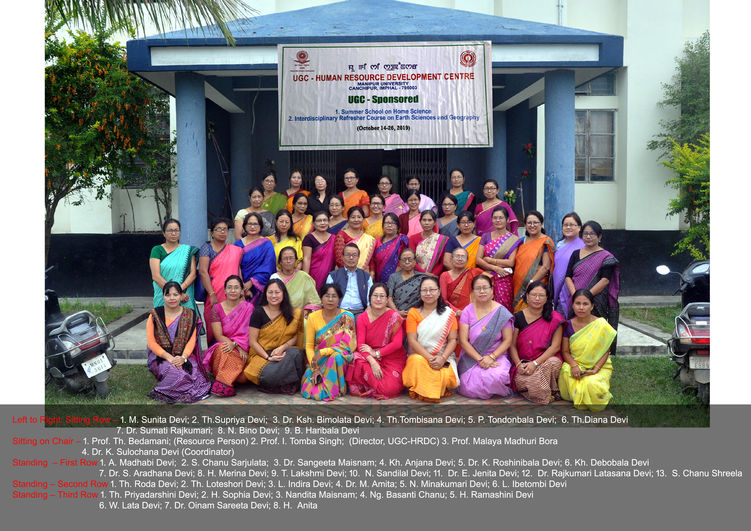 Interdisciplinary refresher course in earth sciences and geography from october 14-26, 2019 conducted by UGC-HRDC, Manipur University