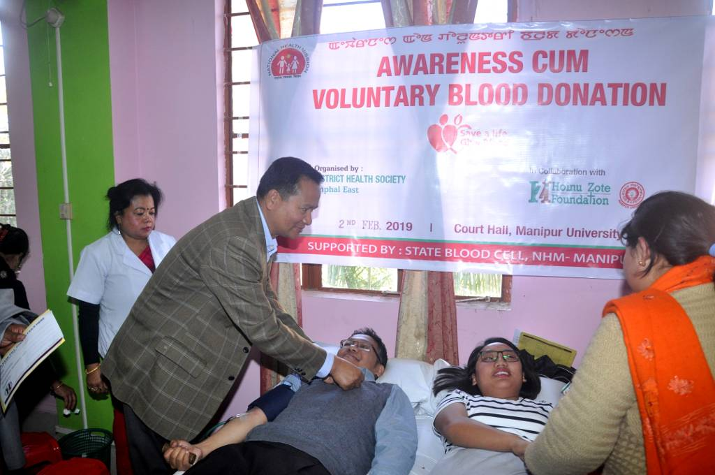 Voluntary Blood Donation Camp held at Manipur University