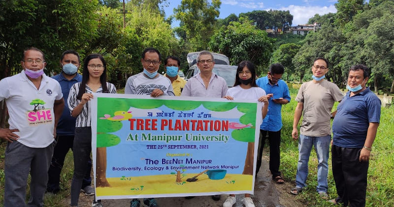 Plantation programme along the road at the back of life sciences building organised by BEENET Manipur in association with Dept of Zoology, on 25/9/21