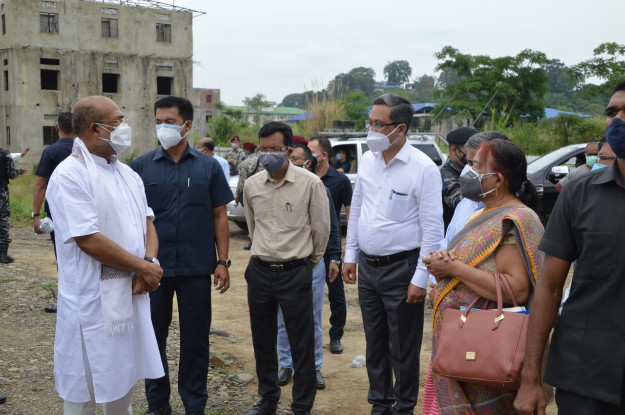 Inspection of 300 bedded Covid-19 Care Centre at Manipur University by N. Biren Singh, Hon'ble Chief Minister of Manipur. 05/06/2021