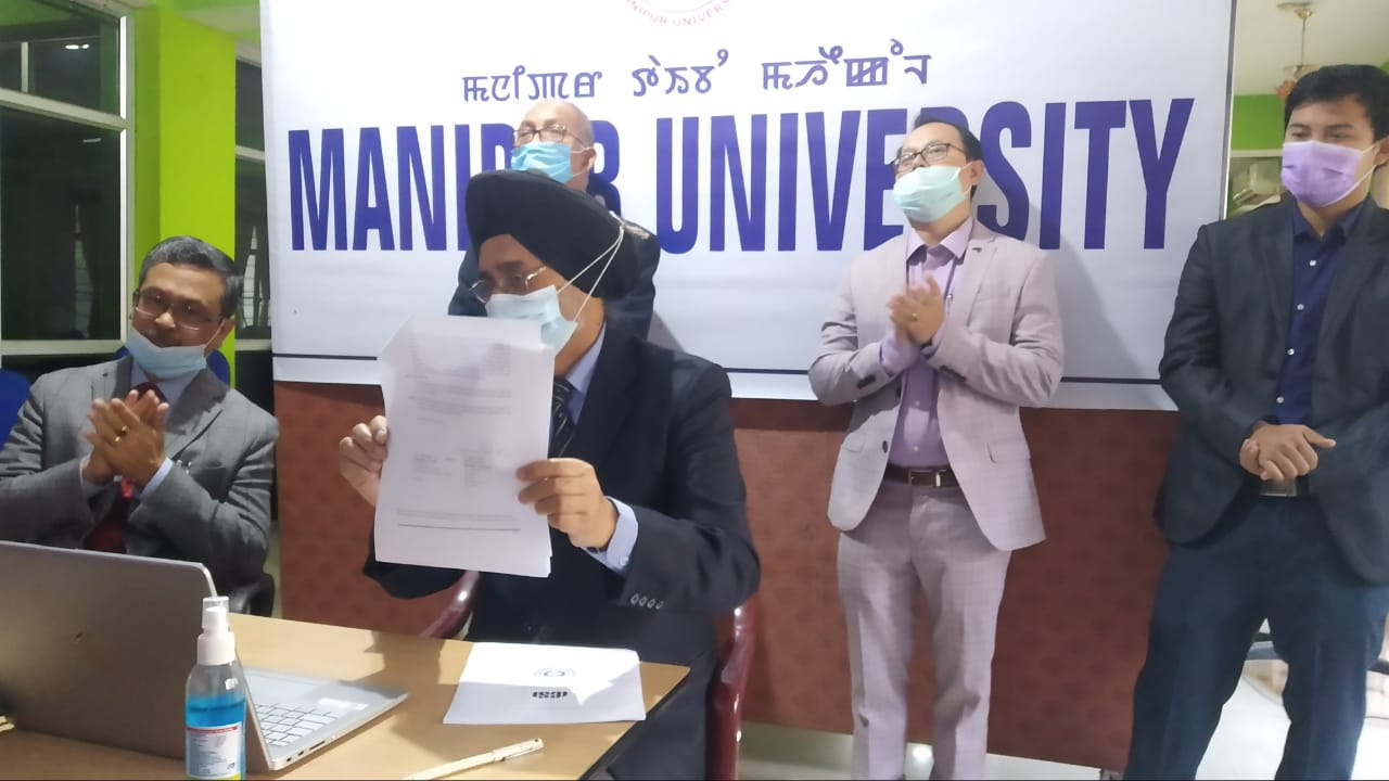 Signing of MOU between ICSI and Manipur University through online mode on 21st November 2020 at 1:00 PM