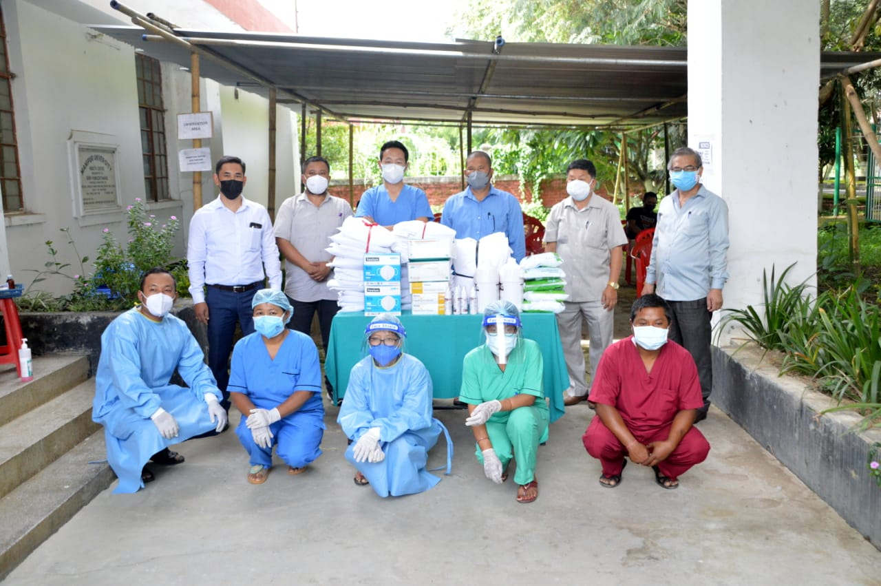 Essential medical items presented by Manipur University Staff Association, 09-08-2021