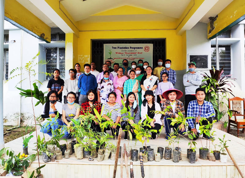 Tree plantation programme on 05.10.2021 in connection with World Teachers day, 2021. Organised by Departments of Botany and Zoology, Manipur Universit